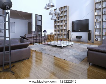 Spacious contemporary livin room with bookshelves. 3D render