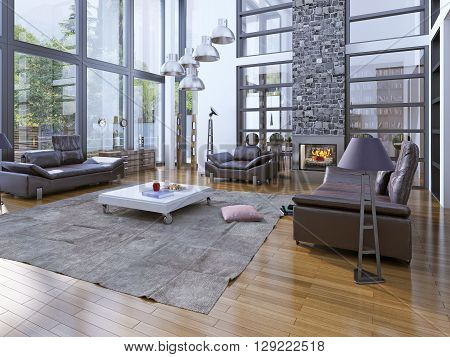 High ceiling living room with fireplare. Modern interior with panoramic windows and lether furniture. Stone chimney fits perfectly into the interior of the room. 3D render