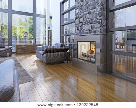 Idea of avant-garde living room with fireplace. 3D render