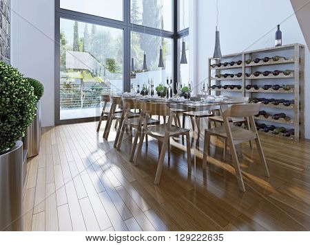 Design of dining room with brown furniture. A dining with a high ceiling and panoramic windows provide a good view. 3D render