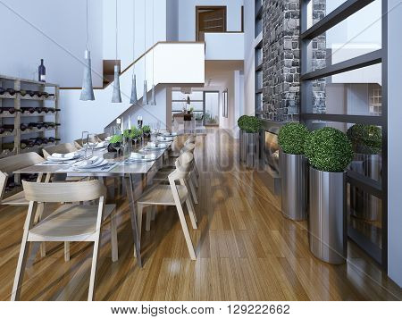 Luxury two-story dining room loft style. 3D render