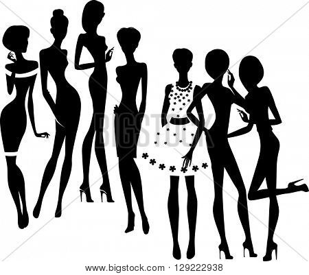 silhouette of group fashion girls