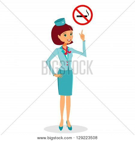 Cartoon flight attendant in uniform pointing on No Smoking sign vector illustration professional occupation character. Isolated on white background
