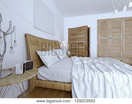 Bedchamber contemporary design, wooden furniture. 3D render