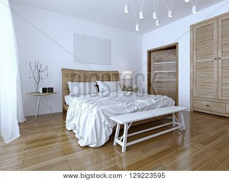 Beautiful and modern home and hotel bedroom. The contrast of the two colors: white and brown. Unmade bed with pillows beautiful hanging lamp. 3D render