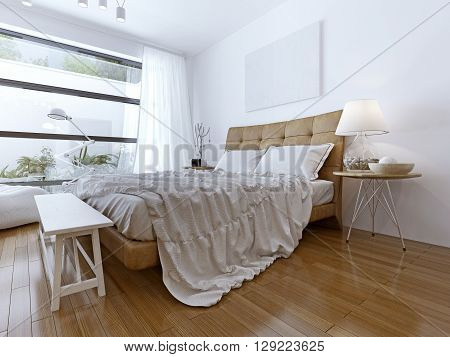 Modern bedroom with floor to ceiling windows. Bright room with light wood laminate. a large bed and a snow-white Tulle. White bench beside the bed. 3D render