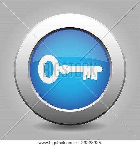 blue metal button - with white key icon