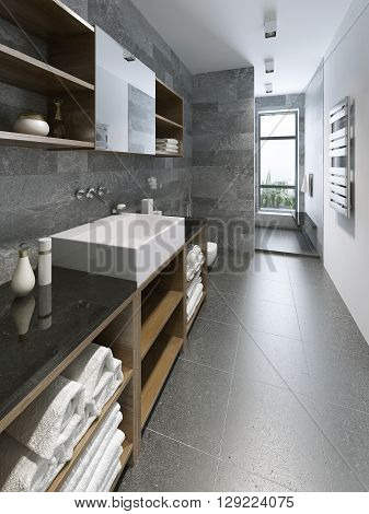 High-tech bathroom design. Lighting and windows in the bathroom. Mixed white and grey colored walls. 3D render