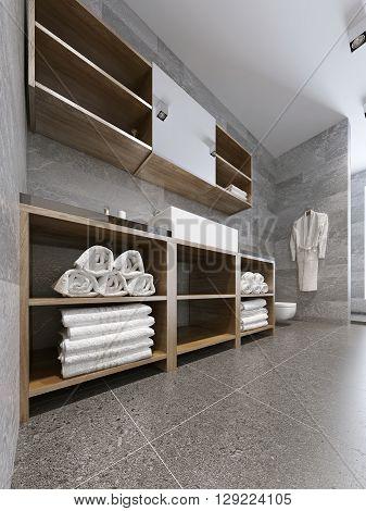 Modern bathroom with grey tile trend. 3D render