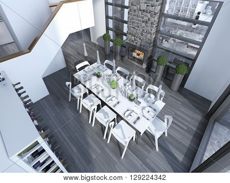 Contemporary dining with white furniture trend. Top view to dining room with wine rack table for 10 people and fireplace. 3D render