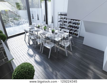 Design of high-tech dining with panoramic window. White furniture and gray hanging lamp over served table. The design of the spacious dining room with white walls and large windows. 3D render