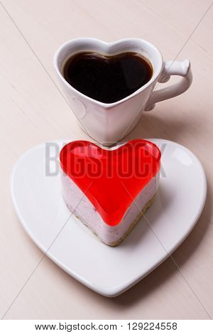 Heart Shaped Coffee Cup And Cake