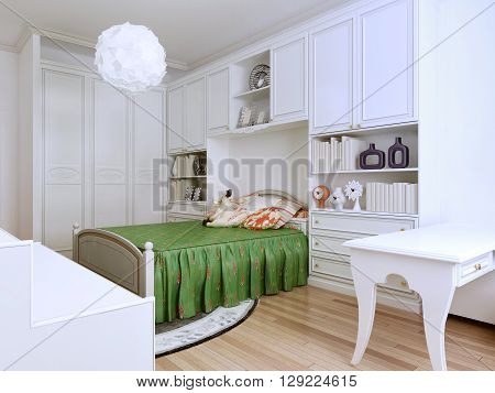 Idea of classic-styled bedroom. The combination of bright colors evoke a desire to create. Teens will appreciate the design of this room. 3D render