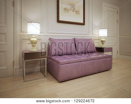 Idea of modern hall. Soft pink sofa with pillows in the corridor. The white molding walls with light wood flooring. 3D render