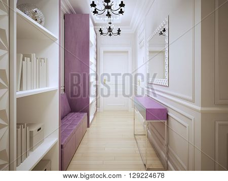 Contemporary corridor design. Entrance hall with cupboards a soft pink leather sofa console and large mirror. 3D render