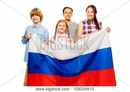 Group of four smiling teenage kids with flag of Russian Federation, isolated on white
