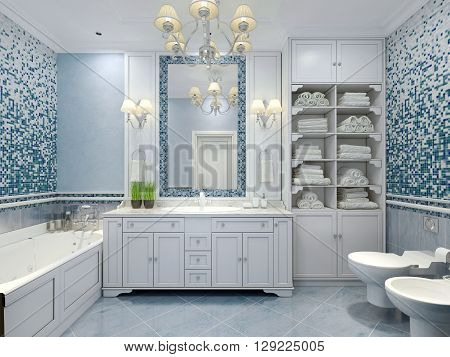 Furniture in classic blue bathroom. Blue colored bathroom with white furniture great mirror with sconces and luxurious chandelier. Mix of tiles and textured plaster on walls pleasing to the eye. 3D render
