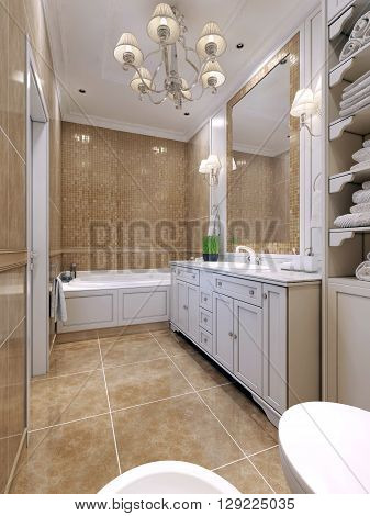 Bathroom art deco style. Classical bathroom with white furniture a large mirror with mosaic frame. Double sconce above the sink. 3D render