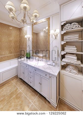 Interior of provence bathroom in beige colors. 3D render