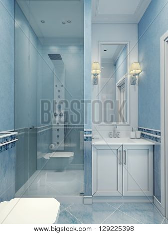 Design of modern blue bathroom. The combination of cold colors: white and blue. Shower mixer with modern upgraded with a glass door. 3D render