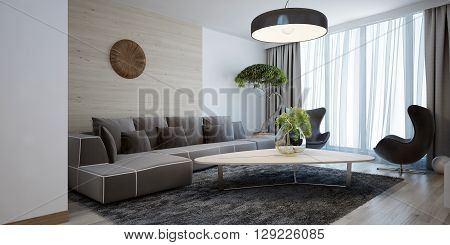 Bright lounge modern style. Spacious design room with a smooth wooden table corner sofa and chairs. The combination of white and light brown wooden walls. 3D render.