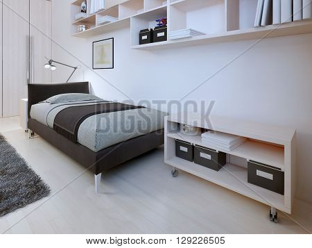 Interior of hotel room modern style. 3D render