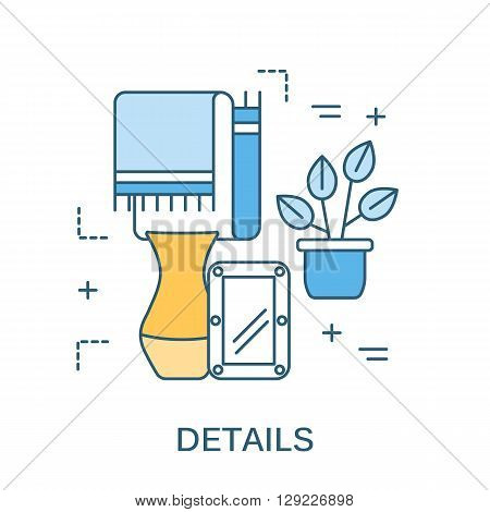 Thin line flat design for interior design, decor elements. Modern vector illustration concept, isolated on white.