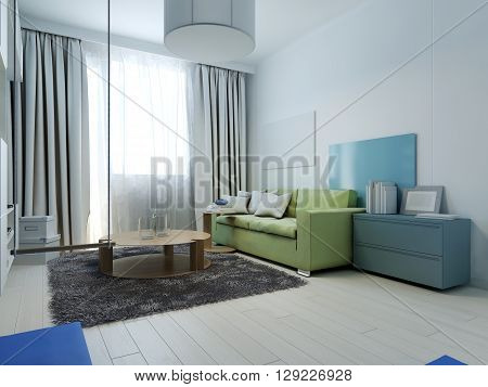 Living room kitsch style. Interior living room with colored furniture. The white walls are covered with colorful decorative panels. 3D render