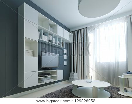 Bright design of modern lounge with white furniture. 3D render