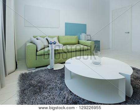 Spacious interior of kitsch living room. Room with white walls and light wood flooring. Green sofa with dark blue cabinet. White table and stand in the form of water lilies. 3D render