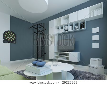 Lounge contemporary style. Room with white furniture and dark blue walls. Wall bars and darts for particularly active. 3D render