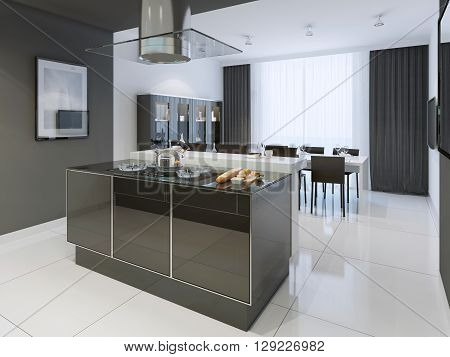Black and white kitchen modern style. Color separated kitchen and dining room looks elegant from all sides. Glossy worktop on island black curtains and white tulle. 3D render