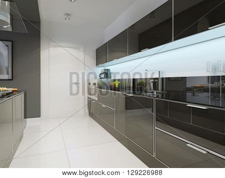 Black and white kitchen techno style. 3D render