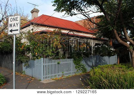 MELBOURNE, AUSTRALIA, MAY 22: Workers cottage on a street corner in Richmond, Melbourne, on May 22, 2014