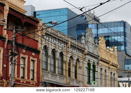MELBOURNE, AUSTRALIA, MAY 23: Old and new - the modern facade of the Epworth Hospital contrasts sharply with the old buildings surrounding it in Richmond, Melbourne, on May 23, 2014.
