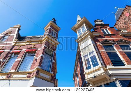 bay windows at historical houses in Utrecht Netherlands