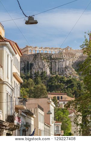 View Of Acropolis Through Streets Of Plaka District In Athens Greece
