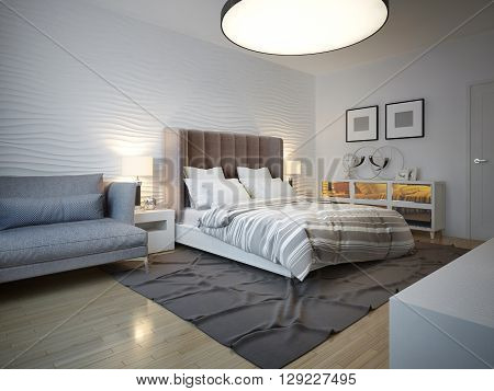 Bedroom art deco style with large ceiling lamp. Unmade bed with large brown headboard. Wavy plaster wall. 3D render