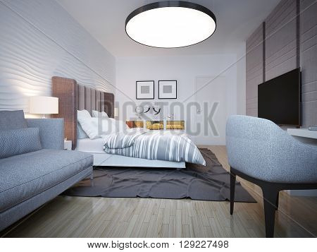 Bedroom modern style. A spacious bedroom with a large bed of white behind which the wavy plastered wall. 3D render