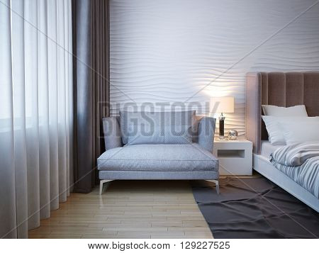Elegant and comfortable home interior. Soft gray sofa with metal legs standing near the bedside table in a modern bedroom. 3D render