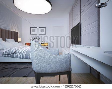 Art deco bedroom with working area. 3D render