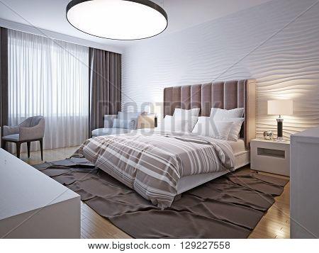 Spacious bedroom in modern style. 3D render