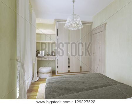View of dressing table and wardrobe in modern bedroom. 3D render