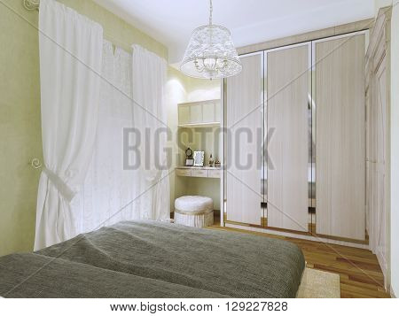 Small bright art deco bedroom trend. The olive walls and white ceiling. Wooden parquet floors dark blanket of the bed. 3D render