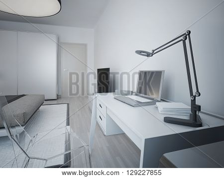 Idea of working area in modern bedroom. White designer table and transparent glass chair. On a table lamp laptop electronic watches notebooks. 3D render