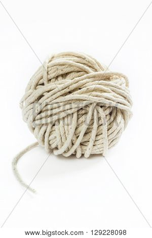 Ball of twine on a white background