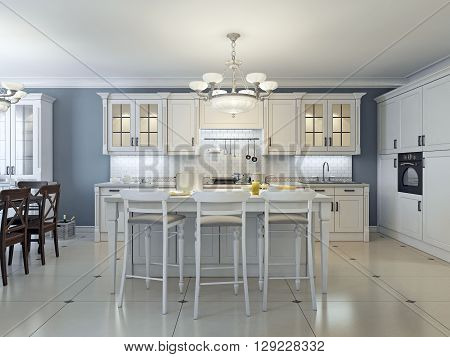 Bright art deco kitchen design. Glass-front cabinets stainless steel appliances white cabinets marble countertops white brick backsplash and navy colored walls. 3D render