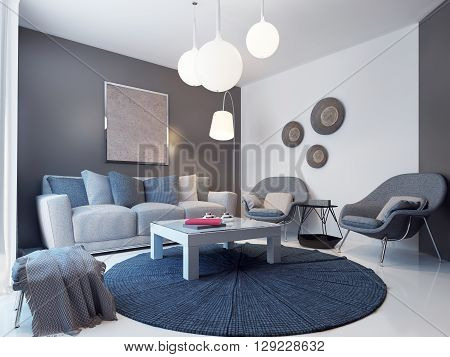 Design of modern lounge with grey and white walls. 3D render