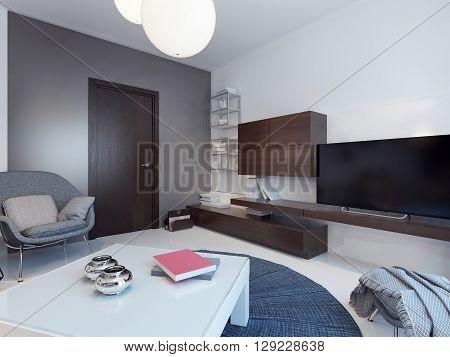 Sitting room in minimalist style. 3D render