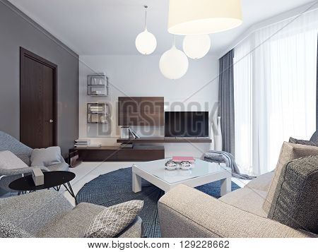 Minimalist living room interior. Beautiful bright room with colorful original form walls floor to ceiling windows and beautiful poured concrete floors white. 3D render